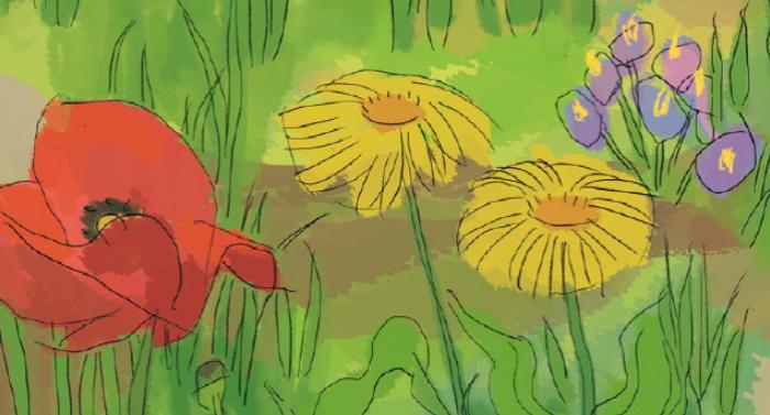 Il·lustració de flors, coberta del catàleg de Biblioteca d'aula d'Infantil i Primària