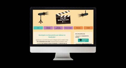 Pantalla d'ordinador amb web de la Guia de recursos cinematogràfics pel Booktrailer