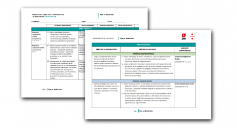Primeres pàgines dels Objectius curriculars i la Rúbrica d'avaluació del Booktrailer