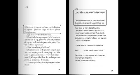 Mostra llibre edició tradicional (esquerra) i edició adaptada (dreta).