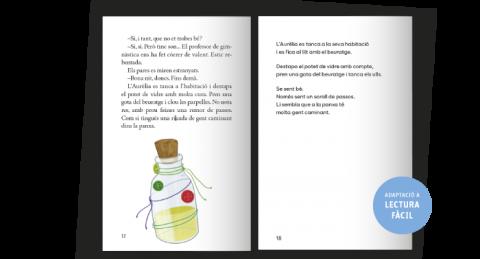 Mostra llibre on es veu lectura tradicional (esquerra) i lectura adaptada (dreta)