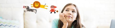 Nena pensant amb cara de creativitat