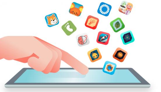 Dit toca una tauleta amb diferents apps